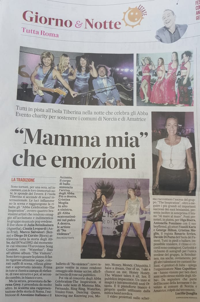 Abba Celebration Isola Tiberina ilMessaggero del 29 agosto 2018