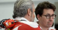 maurizio arrivabene team principal and mattia binotto ferrari race engine manager